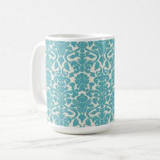 French Damask, Damask Pattern - Blue White Coffee Mug