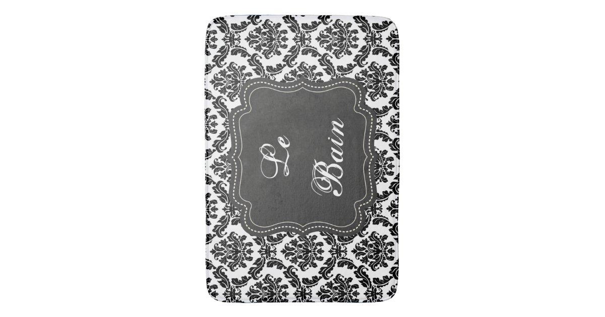 French damask design black white bath mat zazzle for Black and white damask bath mat