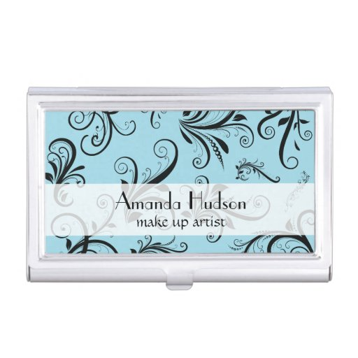 French Damask, Ornaments, Swirls - Blue Black Business Card Cases