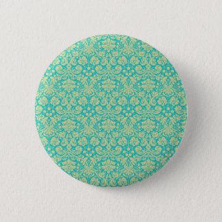 French Damask, Ornaments, Swirls - Blue Gold Pinback Button