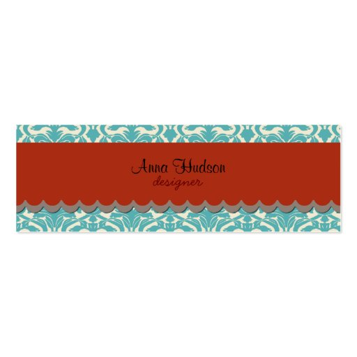 French Damask, Ornaments, Swirls - Blue Red Business Card