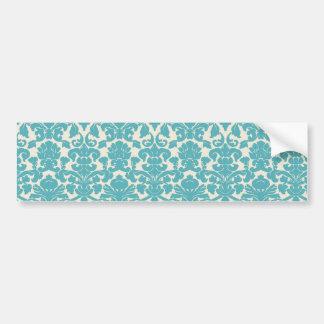 French Damask, Ornaments, Swirls - Blue White Bumper Sticker