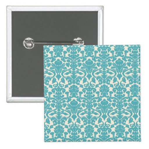 French Damask, Ornaments, Swirls - Blue White Pinback Button