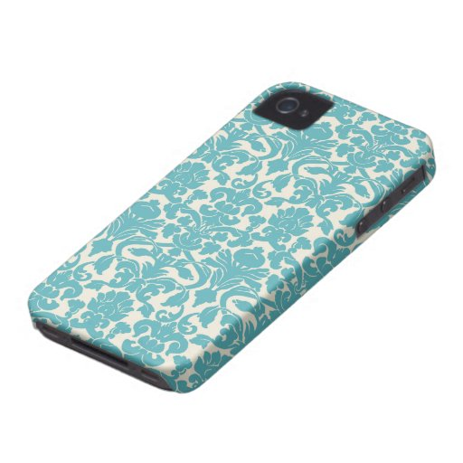 French Damask, Ornaments, Swirls - Blue White iPhone 4 Covers