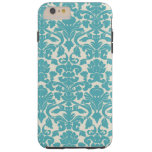 French Damask, Ornaments, Swirls - Blue White Tough iPhone 6 Plus Case