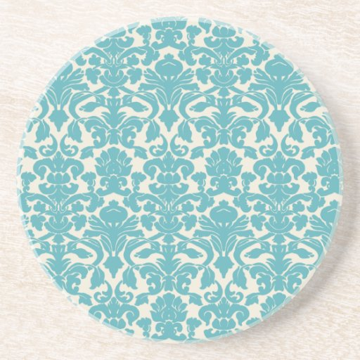 French Damask, Ornaments, Swirls - Blue White Drink Coasters