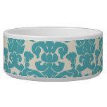 French Damask, Ornaments, Swirls - Blue White Pet Bowls