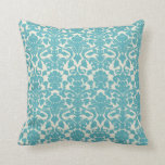 French Damask, Ornaments, Swirls - Blue White Throw Pillow