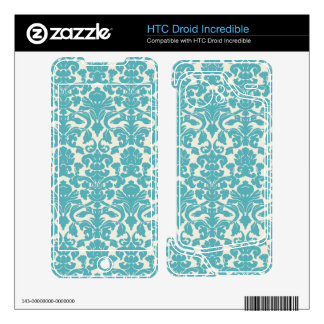 French Damask Ornaments Swirls - Blue White HTC Droid Incredible Skin