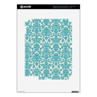 French Damask, Ornaments, Swirls - Blue White iPad 3 Decals