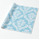 French Damask, Ornaments, Swirls - Blue White Gift Wrapping Paper