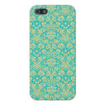 French Damask, Ornaments, Swirls - Blue Yellow Cover For iPhone 5/5S