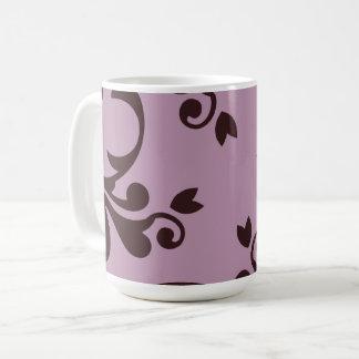 French Damask, Ornaments, Swirls - Brown Purple Coffee Mug
