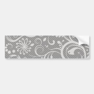 French Damask Ornaments Swirls - Gray White Bumper Stickers