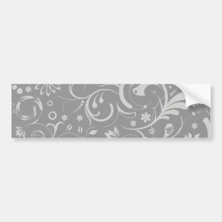 French Damask, Ornaments, Swirls - Gray White Bumper Sticker