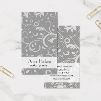 French Damask, Ornaments, Swirls - Gray White Business Card