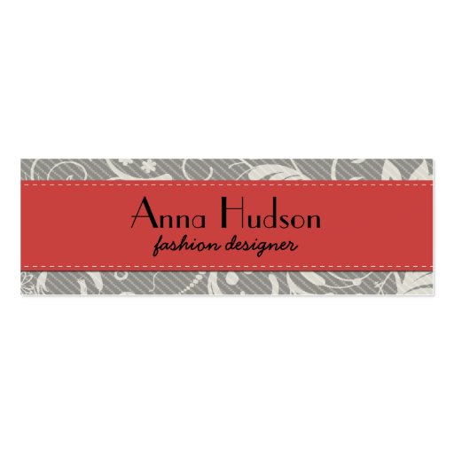 French Damask, Ornaments, Swirls - Gray White Business Card Template
