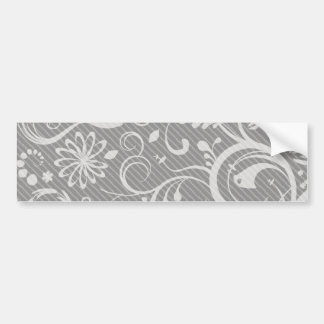 French Damask, Ornaments, Swirls - Gray White Car Bumper Sticker