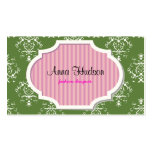 French Damask, Ornaments, Swirls - Green Pink Business Cards