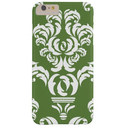 French Damask, Ornaments, Swirls - Green White Barely There iPhone 6 Plus Case
