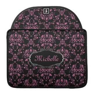 French Damask Pink Black Personalized Sleeve For MacBook Pro