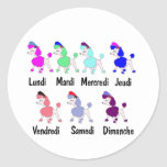 French Days of the Week Classic Round Sticker