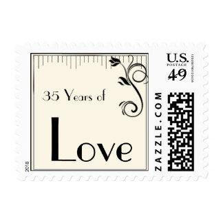 French Deco Rose Black Cream Love Postage