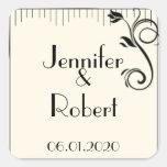 French Deco Rose Black Cream Wedding Envelope Seal Stickers