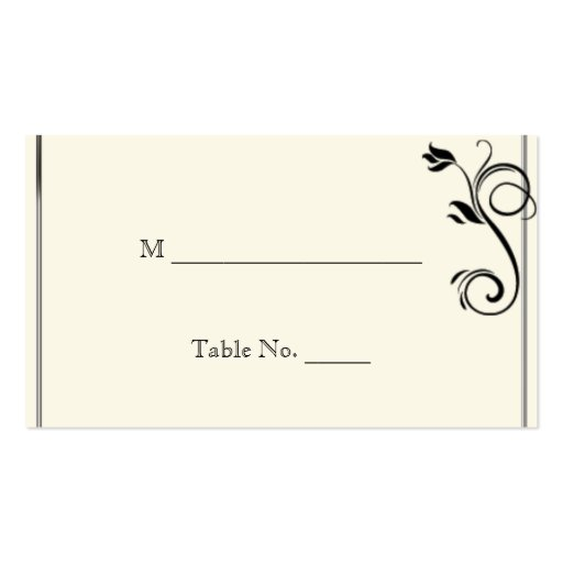 French Deco Rose Black Cream Wedding Place Cards Business Cards