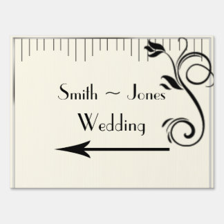 French Deco Rose Black Wedding Direction Sign