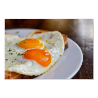 french dish croque-madame with beautiful fried egg poster