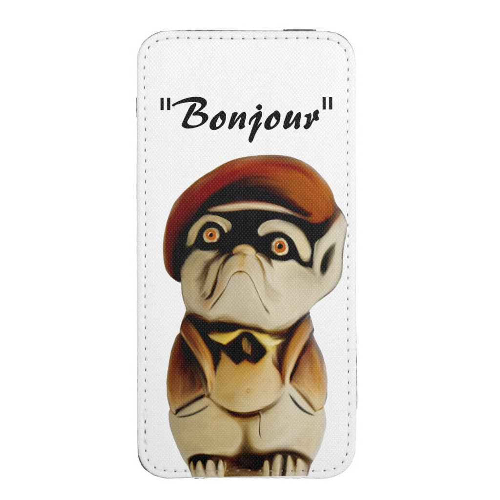 French Dog Cartoon Phone Pouch
