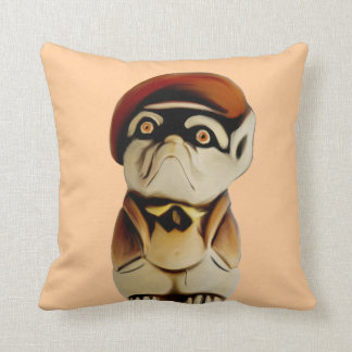 French Dog Wearing Clothes Throw Cushion