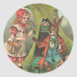 French Easter Bunny With Pipe Round Sticker