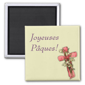 French Easter - Joyeuses Pâques! 2 Inch Square Magnet