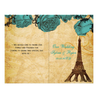 French Eiffel tower aqua  folded Wedding program
