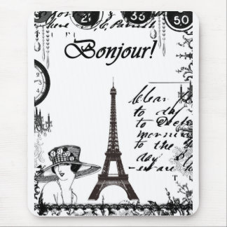 French Eiffel Tower Collage Mouse Pads