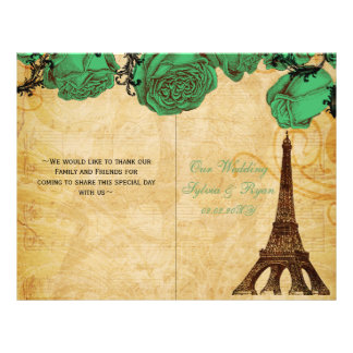 French Eiffel tower green  folded Wedding program