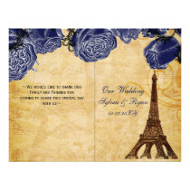 French Eiffel tower navy folded Wedding program