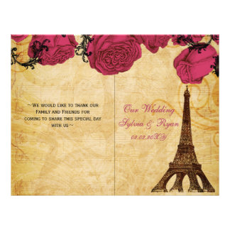 French Eiffel tower pink  folded Wedding program