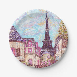 French Eiffel Tower Pointillism inspired landscape Paper Plate