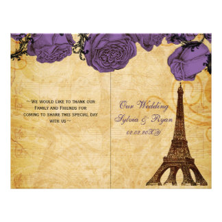 French Eiffel tower purple folded Wedding program