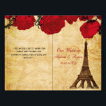 """French Eiffel tower red  folded Wedding program<br><div class=""""desc"""">French Eiffel tower red roses book fold Wedding program, you will have to manually fold these programs. click &quot;clear&quot; on you right if you want to remove folding lines on front and back these folding lines are given to guide you that none of your text runs into other side. Matching...</div>"""