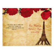 French Eiffel tower red  folded Wedding program