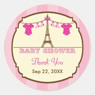 French Eiffel Tower Twin Baby Shower Favor Sticker