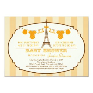 "French Eiffel Tower Twin Baby Shower Invitation 5"" X 7"" Invitation Card"