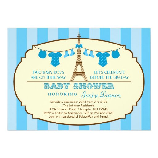 French Eiffel Tower Twin Baby Shower Invitation