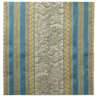 French Embroidered Flower Fabric Look Napkin
