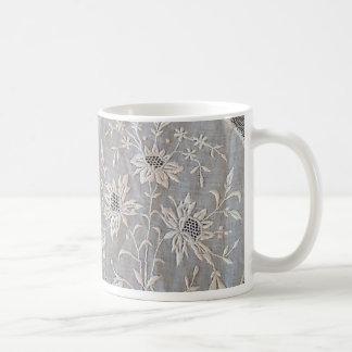 French Embroidered Whitework Round Coffee Mug