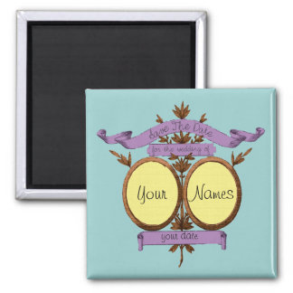 French ephemera style save the date 2 inch square magnet
